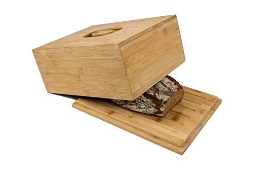 naturlik Brotkasten aus hochwertigem Holz (Bambus) mit Schneidebrett | Innovativ: 2 Griffe - Deckel oder Boden als Schneidebrett | Brotbehälter einfach aufheben und losschneiden