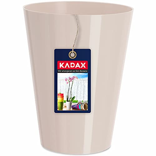 KADAX Blumentopf, schlanker Orchideentopf, Schlichter Pflanzkübel, Blumenkübel für Orchidee, Knabenkraut, Gänseblümchen, Übertopf für Küche und Wohnzimmer (⌀ 13cm, rund, Creme)