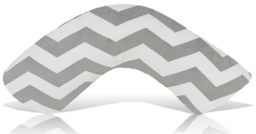 Product Image of the Luna Lullaby Bosom Baby Nursing Pillow, Chevron Grey