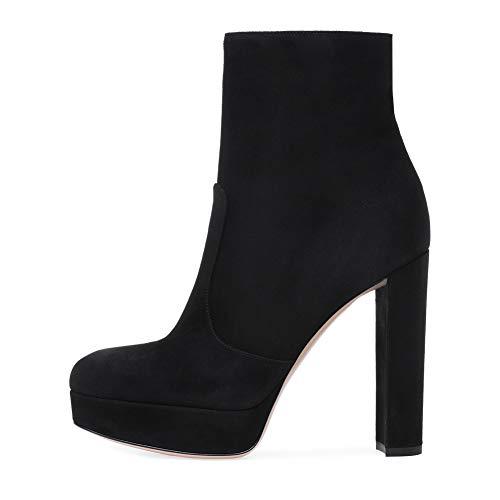 TYX HOME Botines De Moda para Las Mujeres, Cargadores Cortos Femeninos Elegantes, Lado del Bloque De Tacón Grueso Cremallera Plataforma Impermeable, Gamuza Cosiendo Zapatos De Mujer,Negro,44EU