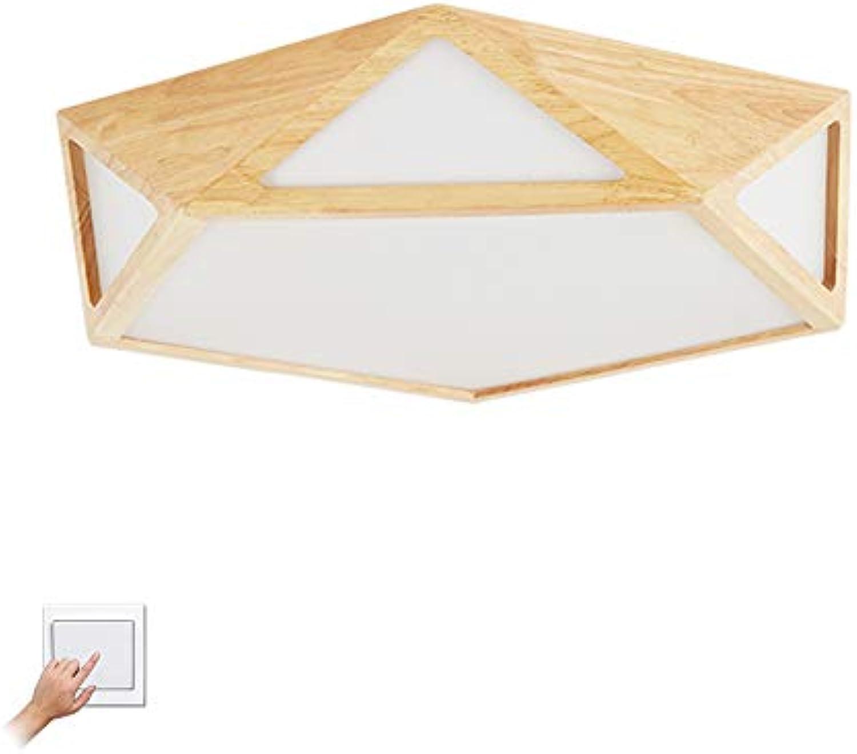 LED Holz Deckenleuchte Leuchte Indoor, 24w Modern Errten-einfassung Dimmbar Deckenlampe Mit Acryl-schatten Für Esszimmer-Trichromes Dimmen 42x42x10cm