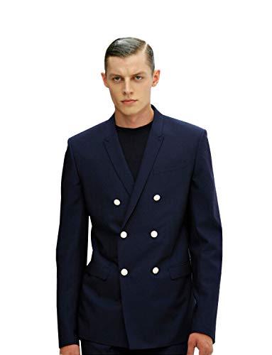 P&G Hombre Chaqueta y pantalón de Vestir de Dos Piezas con Traje Cruzado