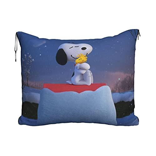 Anime de dibujos animados Snoopy Travel almohada manta portátil viaje 2 en 1 manta de avión mantas súper suaves acogedor