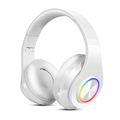 Bluetooth Headphones Over Ear Sendowtek Wireless Earphones Foldable Headphones Over Head Headset with Built-in Mic TF FM Wired RGB Effects Mode for Mobile Phone Android PC Device(White) by Sendowtek