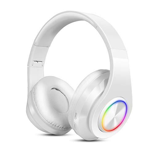 Auriculares Inalambricos Diadema con Microfono Sendowtek Cascos Bluetooth Inalámbrico Auriculares Cancelacion de Ruido Alta Fidelidad Estéreo para iPhone Android iPad PC (Blanco)