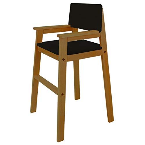 Trona infantil de madera maciza de haya, color teca/negro, trona para mesa de comedor, trona para niños, estable y fácil de limpiar, muchos colores posibles.