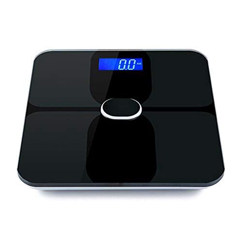 JINJIN Balanza Digital Inteligente IMC - medir el Peso y la Grasa Corporal - más precisa de Cristal Bluetooth báscula de baño de la Salud del corazón y Cuerpo Composición Inteligente Escala