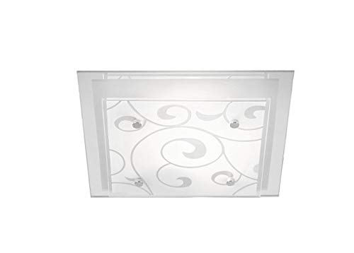 LED plafondlamp 2 spots slaapkamerlamp glas gesatineerde plafondlamp (plafondspot, woonkamerlamp, rechthoekig, 33,5 cm, 2 x 9 Watt)