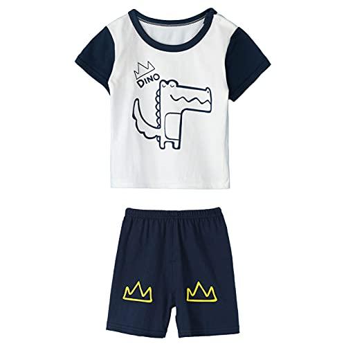 Agoky Conjunto de Ropa Casual Verano para Unisex Niños Bebé con Camiseta Corto con Estampado de Dibujos Animados Conjunto de Pijama Ropa Dormir Cocodrilo 3-4 años