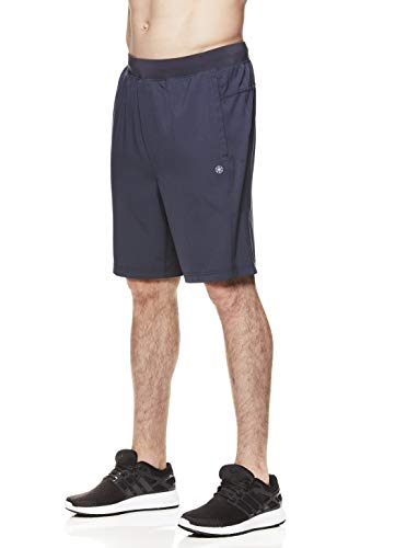 Gaiam Men's Yoga Shorts - Performance Heather Gym & Workout Short w/Pockets - Posture Woven Ebony, Large