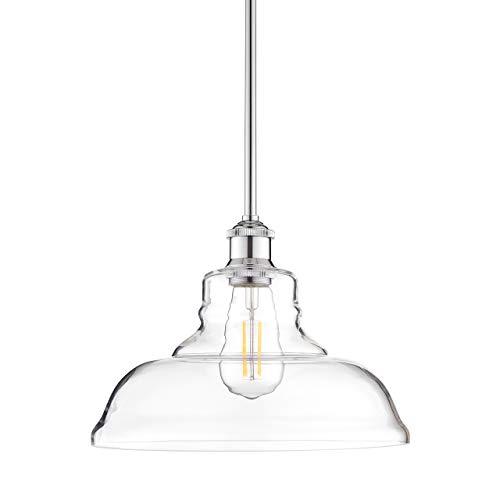 Lucera Glass Kitchen Pendant Light | Chrome Farmhouse Hanging Light Fixture LL-P431-PC