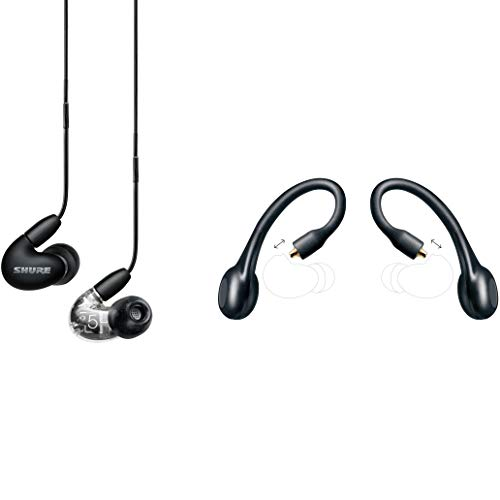 Shure AONIC 5 Wired & Wireless Earphone Bundle, Sound Isolating Earbuds, Hi-Def Sound, Three Drivers, Detachable Cable & Bluetooth Adapter, Compatible with Apple & Android Devices - Black/Clear