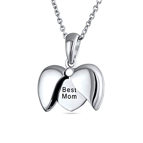 Engraved Saying BEST MOM BFF Opening Angel Wing Heart Shape Locket Necklace Pendant For Women Mother 925 Sterling Silver