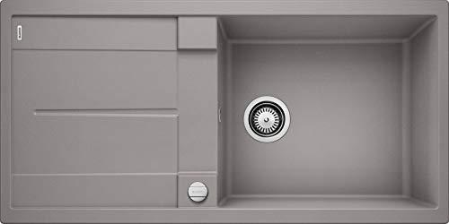 BLANCO METRA XL 6 S – Rechteckige Granitspüle aus SILGRANIT für die Küche – für 60 cm breite Unterschränke – Mit extra großem Becken – grau – 515279