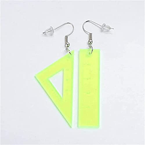 KFXD Asymmetrical Triangle Ruler Earrings, Colored Ruler Earrings with Graduations, Gifts For Those You Like Amarillo