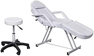 Salon Style White Leather Cover Beauty Professional Facial Tabel Bed Chair Massaging Tables for Barber Face Beauty Updated Facial Beds and Tattoo Chairs with Stool