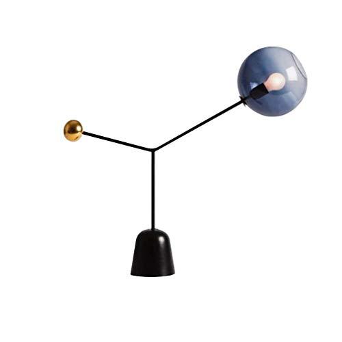 Tafellampen, creatieve tafellamp van glas met metalen voet in zwart, 23 inch hoog, bedlampje, woonkamer, werkkamer, kunstbureaulamp, E26,110-240 V