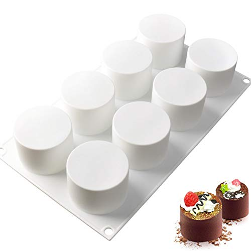 Joho Baking Silicone Molds for Mousse Cake, 3D Silicone Baking Mold Cakes, Dessert Molds for Pastry Chocolate, Tall Cylinder, 8-Cavity