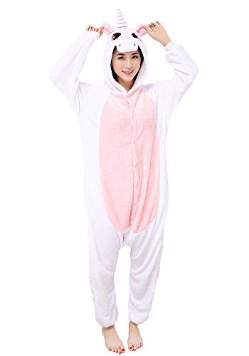 Einhorn Pyjamas Jumpsuit Kostüm Tier Schlafanzug Cosplay Karneval Fasching (Einhorn), Pink, Gr. XS: für Höhe 138-147