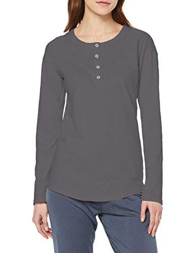 Schiesser Damen Mix & Relax Shirt 1/1 Arm Schlafanzugoberteil, Khaki, 38