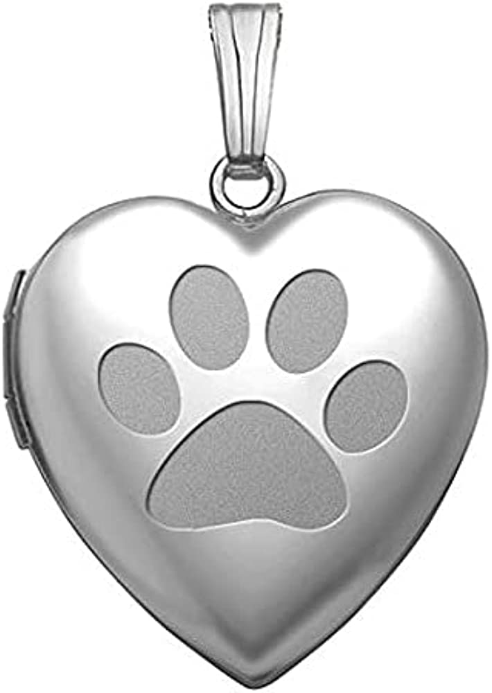 Sterling Silver Superior Dog Paw Heart Locket 4 - Inch Pendant 3 Challenge the lowest price of Japan Necklace