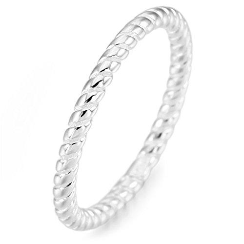MunkiMix Sterling Silber Band Ring Silber Ton Valentine Lieben Hochzeit Engagementsringe Größe 60 (19.1) Damen
