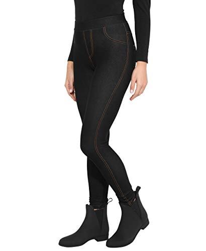 KRISP Damen Denim Leggings Slim Jeggings High Waist Stretch, Schwarz, Small/Medium, 3350-BLK-SM