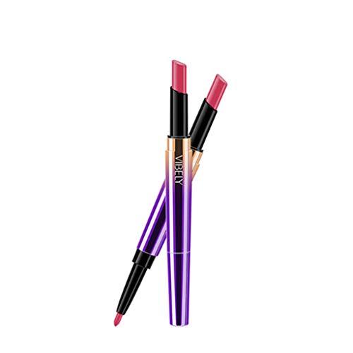 TOWAKM Lippenstift,Doppelseitiger dauerhafter Lipliner wasserdichter Lippenzwischenstift 16 Farbe