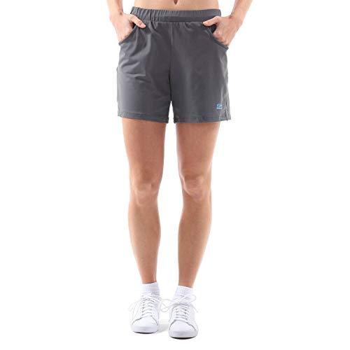 Sportkind Mädchen & Damen Tennis, Fitness, Bermuda Shorts mit Taschen, atmungsaktiv, UV-Schutz, grau, Gr. M