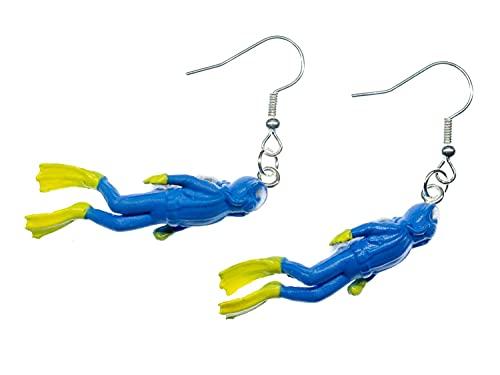 Miniblings Taucher Ohrringe - Handmade Modeschmuck I Taucheranzug Tauchen Sport blau 35mm - Ohrhänger Ohrschmuck versilbert