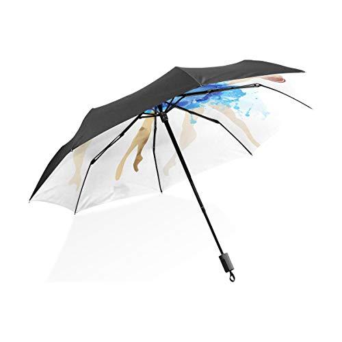 Winddicht Regenschirm Ballerina blau Vektor aquarell tragbare kompakte klappschirm Anti uv Schutz Winddicht Outdoor Reise Frauen kleines mädchen Regenschirm