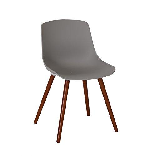 Ribelli® Solentum Tuinstoel van kunststof, grijs, stoel met houten poten voor tuin, balkon en terras, moderne tuinstoel