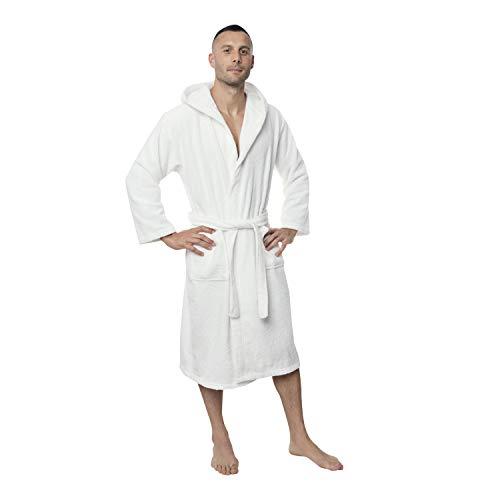 Twinzen Peignoir de Bain Homme - M - Blanc - 100% Coton avec Capuche - Certifié OEKO-TEX® - Robe de Chambre Eponge 2 Poches, Ceinture - Doux, Absorbant et Confort