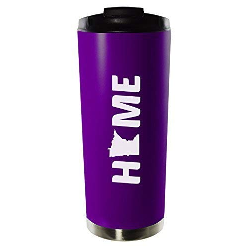 Minnesota-State Outline-Home-16oz. Vacuum Sealed Travel Mug-Purple