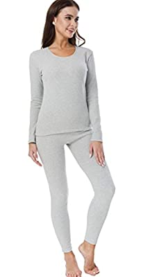 HieasyFit Women's Cotton Thermal Underwear Fleece Lined Winter Base Layer Set Light Gray L