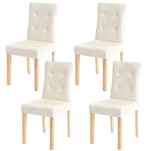 Mendler Set 4X sedie HWC-E58 Sala da Pranzo Legno Ecopelle Avorio Gambe Chiare