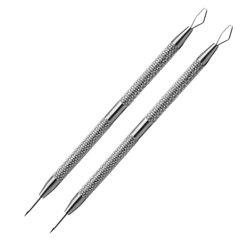 2-In-1 Facial Milia Removal and Whitehead Extractor & Lancet Circle Loop & Sharp Needle Pimple Popper Tool for Nose Face, Blemish Blackhead Extraction Pimple Acne (2pcs)