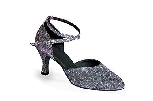 Exclusive Dance Shoes Tanzschuhe, Silbergrau Glitter, 55mm