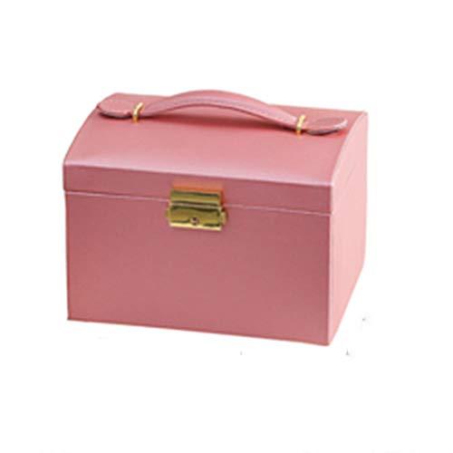 NFRADFM Caja de joyería, caja de joyería de alta capacidad bloqueada, organizador portátil de múltiples capas, caja de almacenamiento de joyas para collares y pendientes