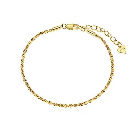Miffen Pulseras para Mujer,Bracelet,Pulsera Trenzada con Nudo De Cuerda,Chapado En Oro De 18 Quilates Señoras Puños Apertura Ajustable Bracelet Muñequera Accesorios De Joyería Regalo De San Valentín