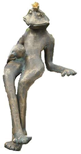 Steinfiguren Horn Wasserspeier Froschkönig Gunter, von der Künstlerin Hanf, Bronze Frosch, Tierfigur für Garten & Teich