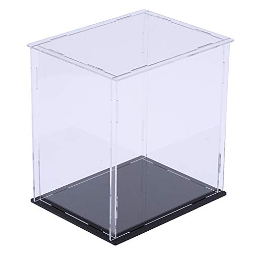 chiwanji Vitrina de Acrílico / Caja Ensamblaje de Vitrina a Prueba de Polvo Base Negra 7x6x10 In