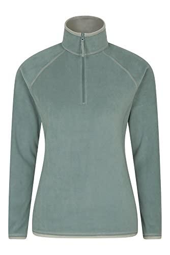 Mountain Warehouse Montana Womens Microfleece - Breathable Ladies Sweater, Quick Drying Pullover, Warm Fleece Jacket, Half Zip - for Winter Travelling, Outdoors Dark Khaki 10