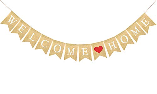 FAKTEEN Welcome Home Banner Burlap Sign for Party Decorations, Military Army Family Homecoming Party Décor Kids and Adults Birthday Party Supplies