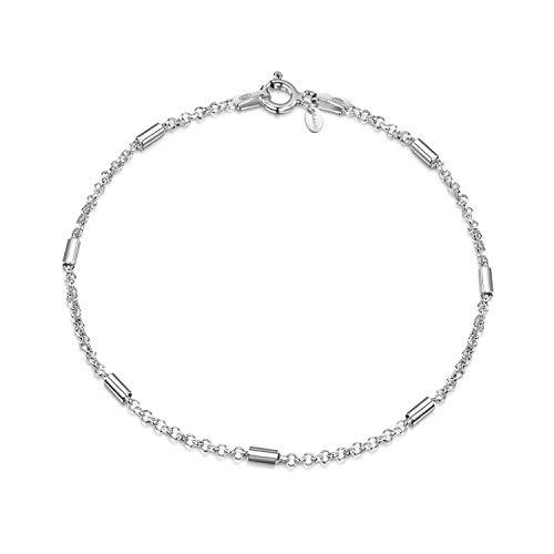 Amberta Bracciale da Donna in Argento Sterling 925 Lunghezza 19 cm: Maglia Rolo' con Tubi 1.7 mm