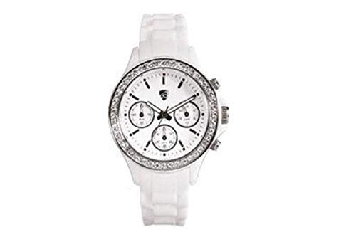 Auriol Damenuhr Quarz Chronograph mit Silikonarmband 2-LD3533-3 Weiß