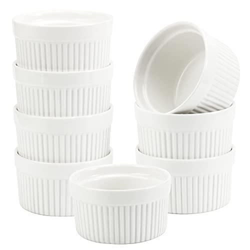 6 OZ Ramekin Bowls,WERTIOO 8 PCS Ramekins for for Baking and Cooking, Oven Safe Sleek Porcelain Ramikins for Pudding, Creme Brulee, Custard Cups
