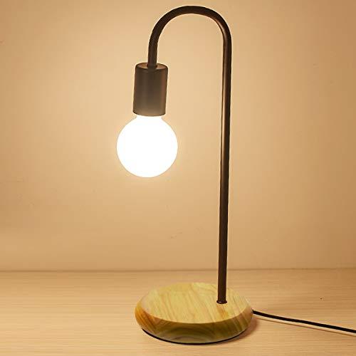 BarcelonaLED Tischleuchte, modern, aus Holz und Metall, schwarz, E27 Fassung, für LED-Edison-Lampe, Nachttisch, Kopfteil, Schreibtisch, Leselampe