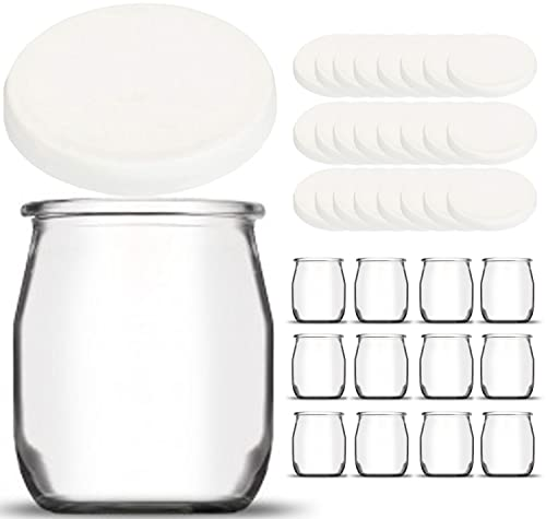 Set di 12 vasetti da yogurt in vetro con 24 coperchi ermetici senza BPA - Made in France - per yogurtiera - Robot - Multicooker (Thermomix, SEB, TM5 / 6, cookéo ecc.) - 143 ML / 125 GR
