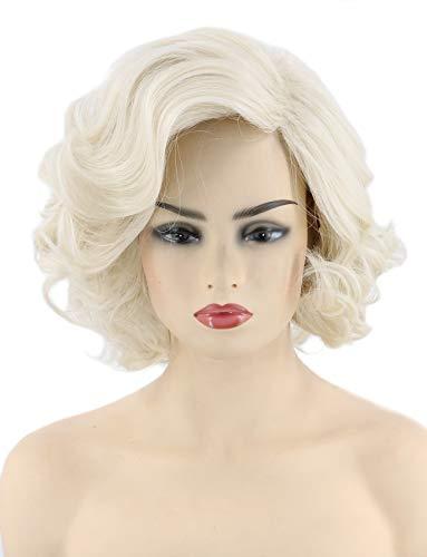 Topcosplay Womens Wigs Platinum Blonde Short Curly Halloween Costume Cosplay Wig